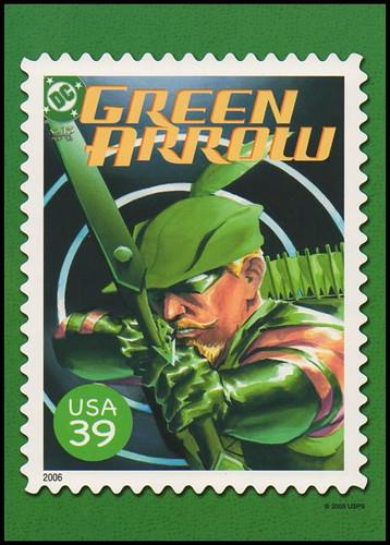 Green Arrow Comic Book Cover : DC Comics Super Heroes Stamp Collectible Jumbo Postcard