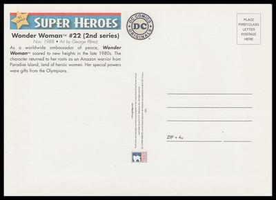 Wonder Woman Comic Book Cover DC Comics Super Heroes Stamp Collectible Postcard