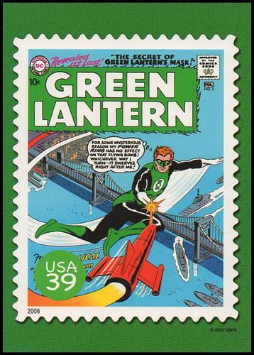 Green Lantern Comic Book Cover : DC Comics Super Heroes Stamp Collectible Jumbo Postcard