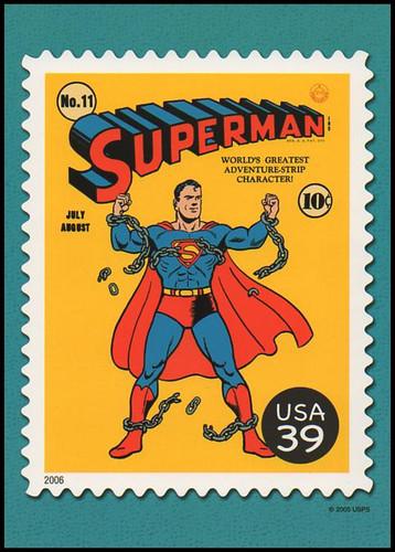 Superman Comic Book Cover : DC Comics Super Heroes Stamp Collectible Jumbo Postcard