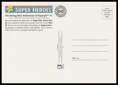 Supergirl Comic Book Cover : DC Comics Super Heroes Stamp Collectible Jumbo Postcard
