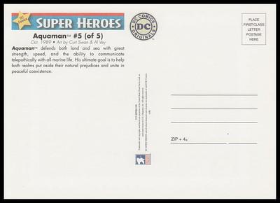 Aquaman Comic Book Cover : DC Comics Super Heroes Stamp Collectible Jumbo Postcard