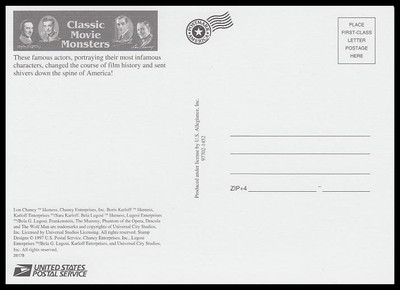 Classic Movie Monsters Stamp Sheet 1997 Collectible Postcard