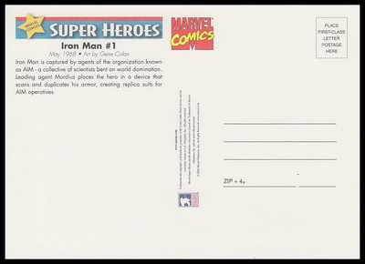 Iron Man Comic Book Cover Marvel Comics Super Heroes Stamp Collectible Jumbo Postcard