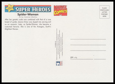 Spider - Woman Marvel Comics Super Heroes Stamp Collectible Jumbo Postcard