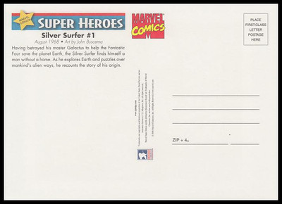 Silver Surfer Comic Book Cover Marvel Comics Super Heroes Stamp Collectible Jumbo Postcard