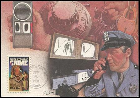 2102 / 20c Crime Prevention / McGruff The Crime Dog 1984 Fleetwood Maximum Card