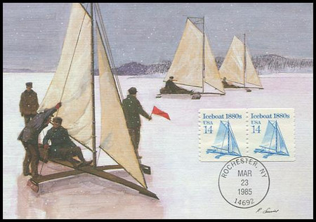 2134 / 14c Iceboat 1880s Coil : Transportation Series 1985 Fleetwood Maximum Card