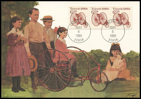 2126 / 6c Tricycle 1880s Coil Strip Of 3 : Transportation Series 1985 Fleetwood Maximum Card
