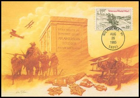2154 / 22c World War I Veterans 1985 Fleetwood Maximum Card