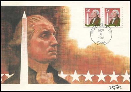 2149 / 18c Washington Monument Coil Pair 1985 Fleetwood Maximum Card