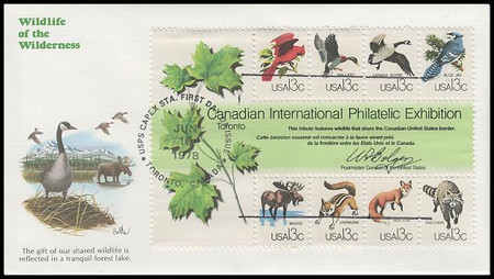 1757 / 13¢ CAPEX Wildlife Souvenir Sheet 1978 Fleetwood First Day Cover