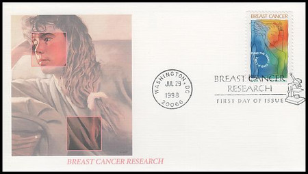 B1 / 32c + 8c Breast Cancer Research Semi-Postal 1998 Fleetwood FDC
