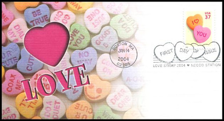 3833 / 37c Love Candy Hearts : Love Stamp Series 2004 Fleetwood FDC