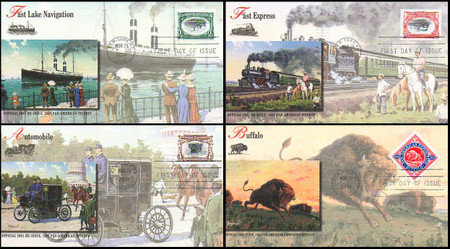 3505a - d / Pan - American Inverts Souvenir Sheet Singles Set of 4 Fleetwood 2001 FDCs