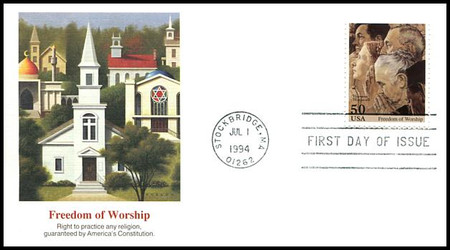 """2839 / 2840 / 2840a - d : 29c / 50c Norman Rockwell """"The Spirit of Norman Rockwell"""" Set of 6 Fleetwood 1994 FDCs"""