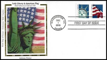 4487a / 44c Lady Liberty and Flag Ashton Potter (APU) Colorano Silk 2010 FDC
