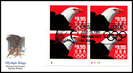2541 / $9.95 Express Mail Eagle and Olympic Rings Domestic Rate Plate Block Bottom Left 1991 Fleetwood FDC