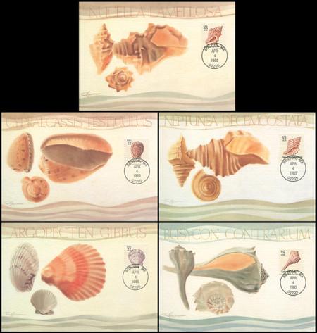 2117 - 2121 / 22c Seashells Set of 5 Fleetwood 1985 Maximum Card