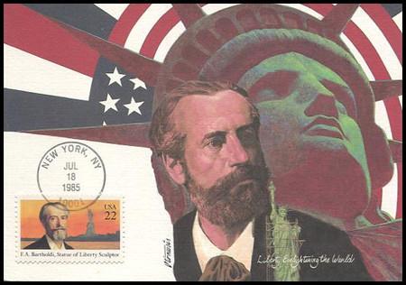 2147 / 22c F. Auguste Bartholdi : Statue Of Liberty Sculpture 1985 Fleetwood Maximum Card