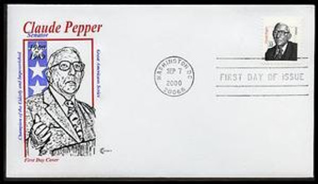 3426 / 33c Claude Pepper: Distinguished Americans Series 2000 Cover Craft Cachet FDC with text insert card