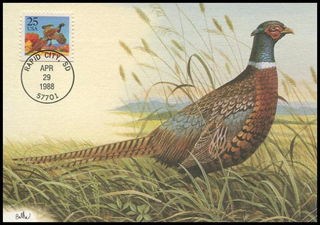 2283 / 25c Ring-Necked Pheasant 1988 Fleetwood First Day of Issue Maximum Card