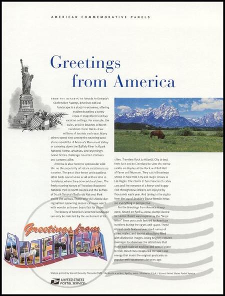 3561 - 3610  / 34c Greetings From America Sheet of 50 ( 2 Panel Set ) / 2002 USPS American Commemorative Panel Sealed #651