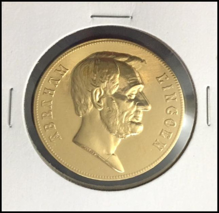 Abraham Lincoln U.S. Mint Bronze Presidential Medal Electroplated with 24kt Gold #2