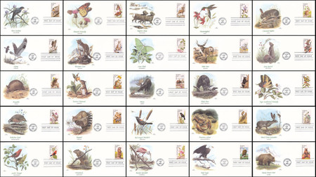 2286 - 2335 / 22c North American Wildlife Set of 50 Fleetwood 1987 First Day Covers