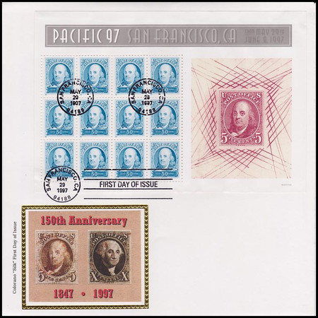 3139 - 3140 / 50c and 60c Pacific '97 Full Sheets Set of 2 Colorano Silk 1997 FDC