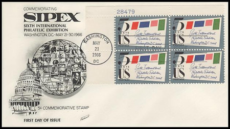 1310 / 5c Sipex Plate Block Upper Left 1966 Fleetwood FDC