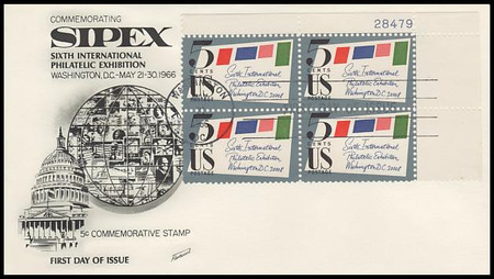 1310 / 5c Sipex Plate Block Upper Right 1966 Fleetwood FDC