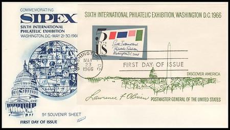 1311 / 5c Sipex Souvenir Sheet Imperf 1966 Blue Cachet Fleetwood FDC