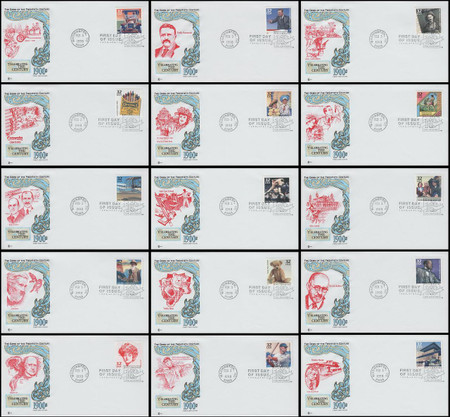 3182a-o / 32c Celebrate The Century ( CTC ) 1900s Set of 15 Cover Craft Cachet FDCs With Text Insert Cards
