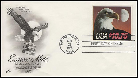2122 / $10.75 Eagle and Half Moon Express Mail 1985 Artcraft FDC