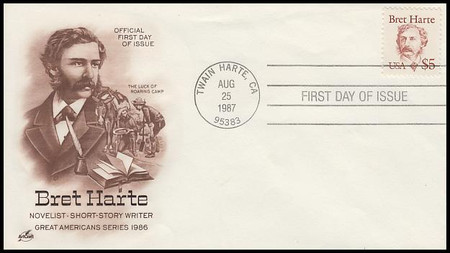 2196 / $5 Bret Harte :  Large Cancel ( Sealed Flap ) 1987Artcraft FDC