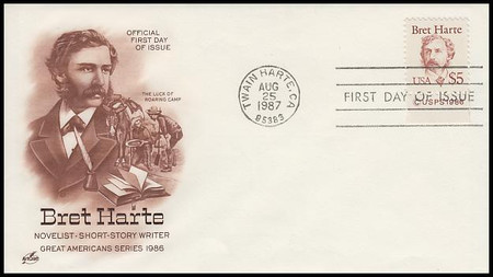 2196 / $5 Bret Harte : USPS Tab 1987 Artcraft First Day Cover