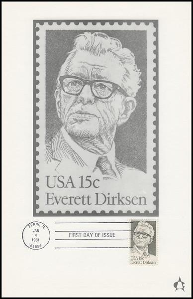 1874 / 15c Everett Dirksen 1981 Andrews Cachet Maxi Card FDC