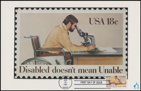 1925 / 18c International Year of the Disabled 1981 Andrews Cachet Maxi Card FDC
