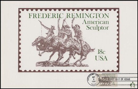 1934 / 18c Frederic Remington : American Sculptor 1981 Andrews Cachet Maxi Card FDC