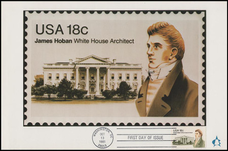 1935 / 18c James Hoban : White House Architect 1981 Andrews Cachet Maxi Card FDC