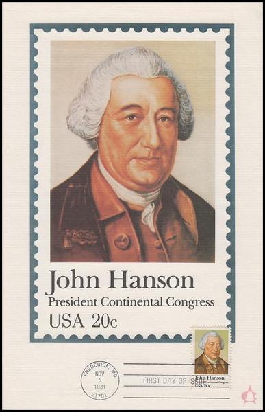 1941 / 18c John Hanson : President Continental Congress 1981 Andrews Cachet Maxi Card FDC