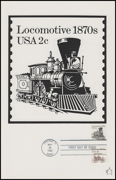 1897a / 2c Locomotive Transportation Series 1982 Andrews Cachet Maxi Card FDC