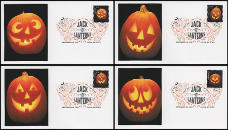 5137 - 5140 / 47c Jack-o'-lantern Set of 4 Digital Color Postmark FDCO Exclusive 2016 FDCs