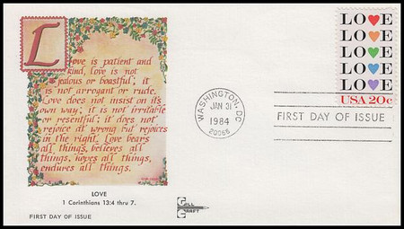 2072 / 20c Love : Love Stamp Series Gill Craft 1984 First Day Cover