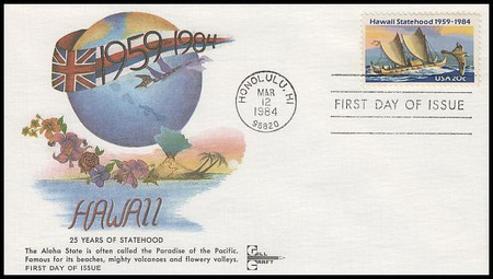 2080 / 20c Hawaii Statehood Gill Craft 1984 First Day Cover