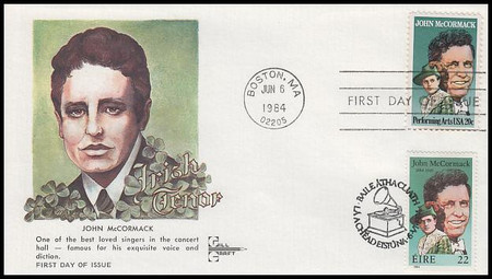 2090 / 594 : 20c and 22c John McCormack : Performing Arts Series 1984 Joint Issue Set of 2 Gill Craft FDCs