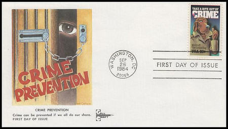 2102 / 20c Crime Prevention : McGruff The Crime Dog Gill Craft 1984 First Day Cover