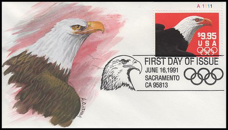 2541 / $9.95 Express Mail Eagle and Olympic Rings Domestic Rate 1991 A. O. Henry Hand Painted FDC