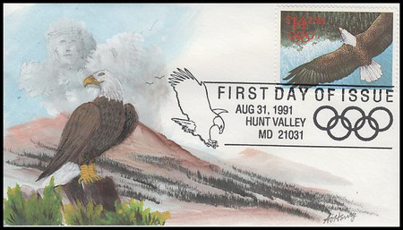 2542 / $14 Express Mail Eagle in Flight International Rate 1991 A. O. Henry Hand Painted FDC #1